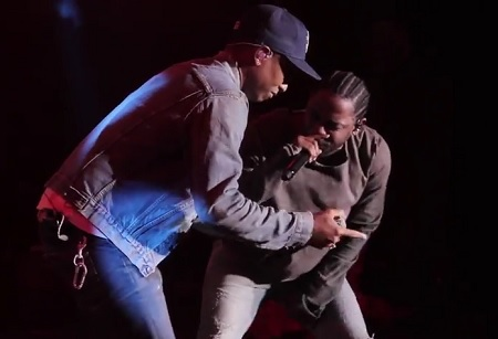 Pharrell Brings Out Kendrick Lamar to The Cali Christmas Stage