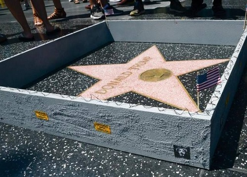 Artist Builds A Border Wall Around Trumps Hollywood Star