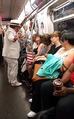 Racist Trump supporter pissed because he didn't get a seat on a Manhattan subway.