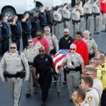 Police Officer Killed In Vegas Shooting Escorted To Mortuary.